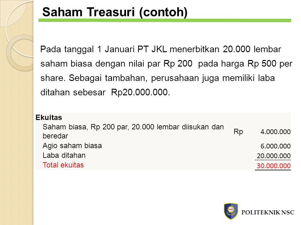 Saham Treasuri (contoh) Pada tanggal 1 Januari PT JKL menerbitkan 20.000 lembar saham biasa dengan nilai par Rp 200 pada harga Rp 500 per share. Sebag