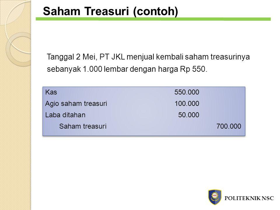 Saham Treasuri (contoh) Tanggal 2 Mei, PT JKL menjual kembali saham treasurinya sebanyak 1.000 lembar dengan harga Rp 550. Kas 550.000 Agio saham trea