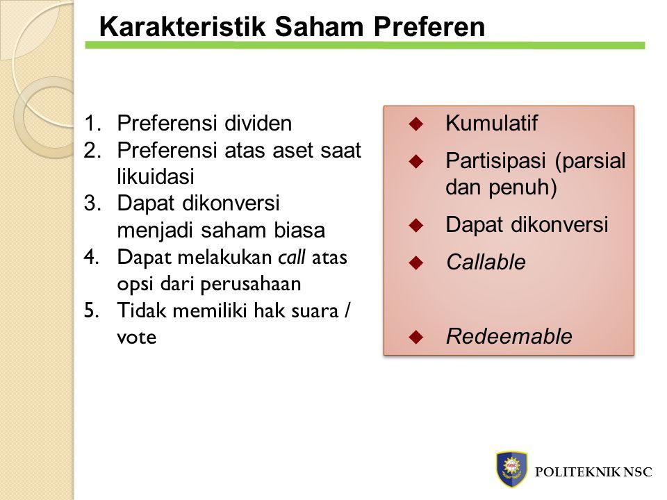 Karakteristik Saham Preferen 1.Preferensi dividen 2.Preferensi atas aset saat likuidasi 3.Dapat dikonversi menjadi saham biasa 4.Dapat melakukan call