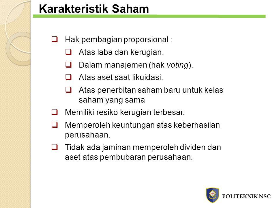  Hak pembagian proporsional :  Atas laba dan kerugian.  Dalam manajemen (hak voting).  Atas aset saat likuidasi.  Atas penerbitan saham baru untu