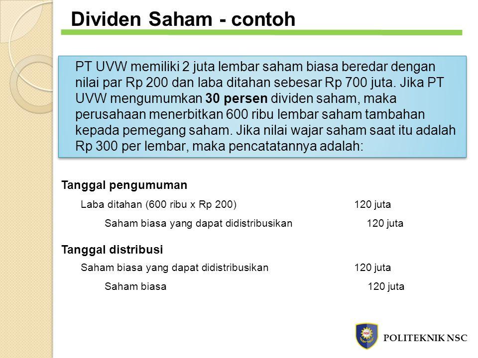 PT UVW memiliki 2 juta lembar saham biasa beredar dengan nilai par Rp 200 dan laba ditahan sebesar Rp 700 juta. Jika PT UVW mengumumkan 30 persen divi