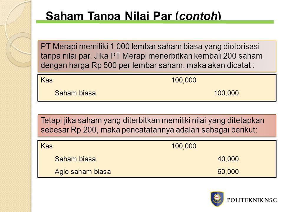 Saham Tanpa Nilai Par (contoh) PT Merapi memiliki 1.000 lembar saham biasa yang diotorisasi tanpa nilai par. Jika PT Merapi menerbitkan kembali 200 sa