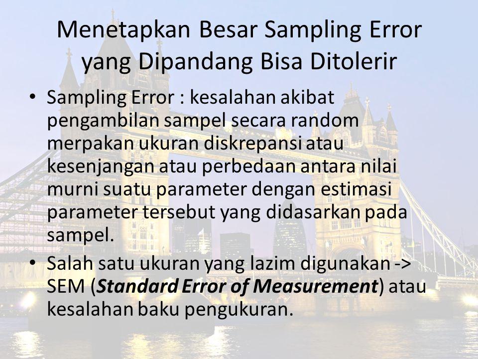 Menetapkan Besar Sampling Error yang Dipandang Bisa Ditolerir Sampling Error : kesalahan akibat pengambilan sampel secara random merpakan ukuran diskr