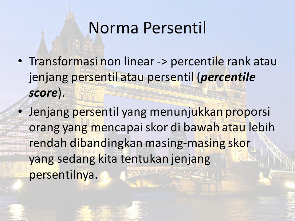 Norma Persentil Transformasi non linear -> percentile rank atau jenjang persentil atau persentil (percentile score). Jenjang persentil yang menunjukka