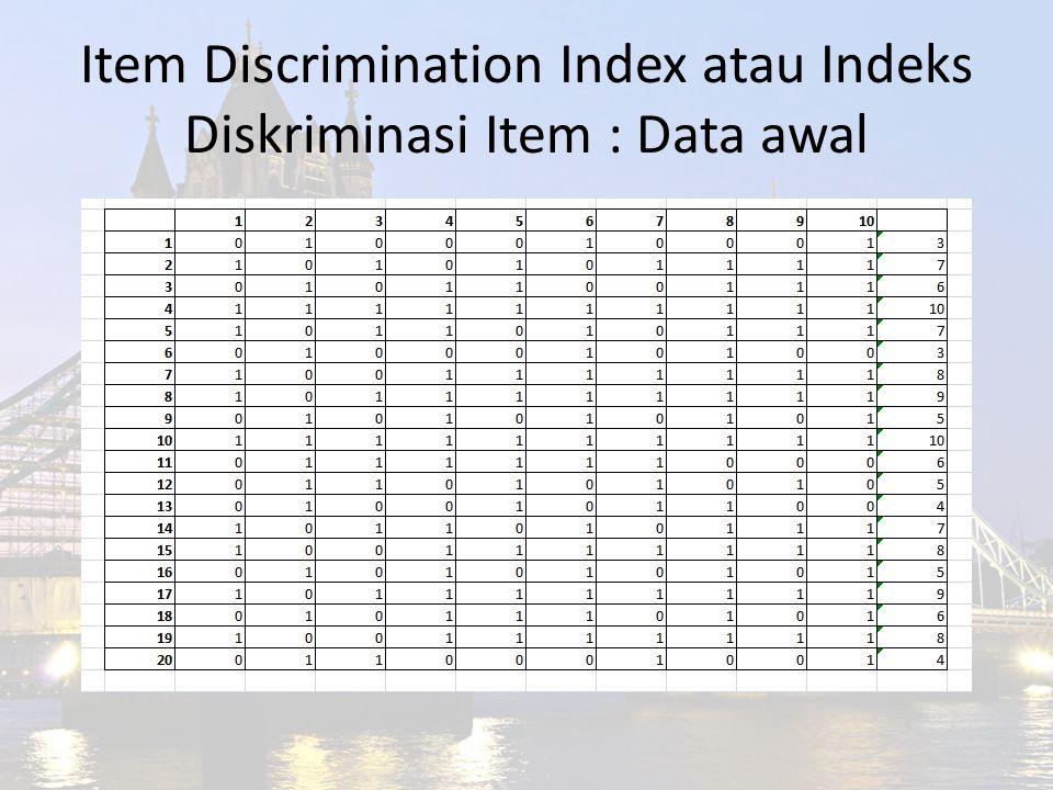Item Discrimination Index atau Indeks Diskriminasi Item : Data awal