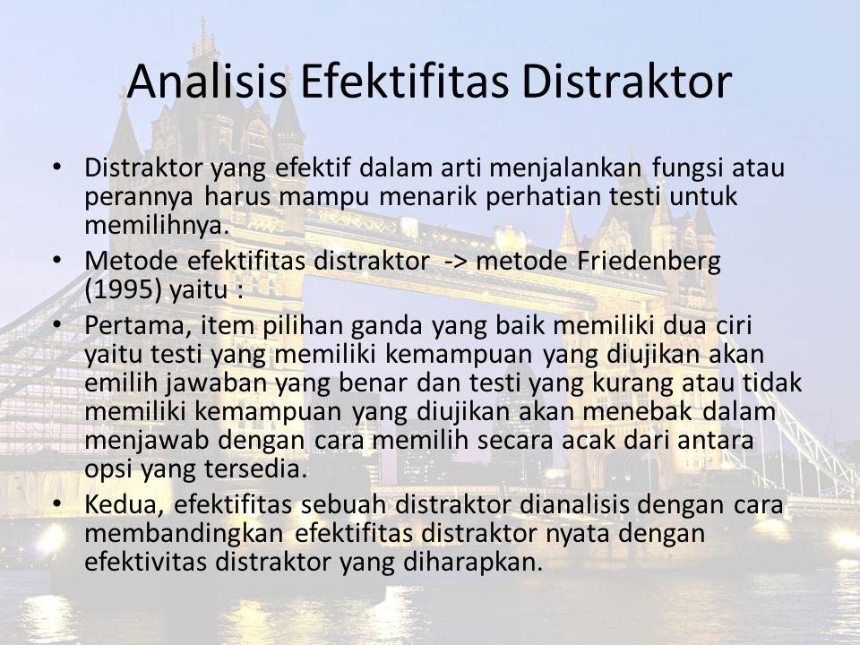 Analisis Efektifitas Distraktor Distraktor yang efektif dalam arti menjalankan fungsi atau perannya harus mampu menarik perhatian testi untuk memilihn