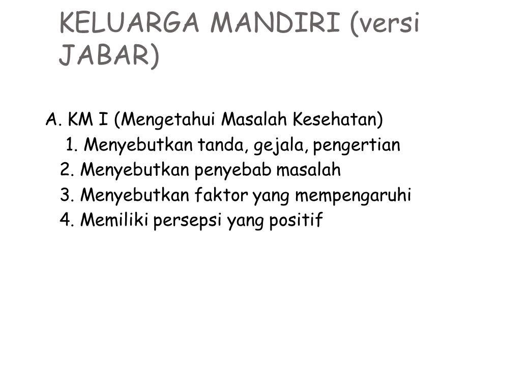 KELUARGA MANDIRI (versi JABAR) A. KM I (Mengetahui Masalah Kesehatan) 1. Menyebutkan tanda, gejala, pengertian 2. Menyebutkan penyebab masalah 3. Meny