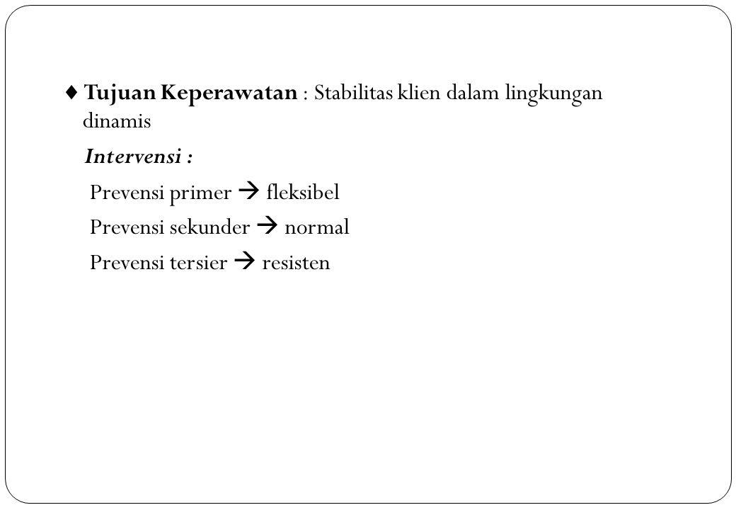  Tujuan Keperawatan : Stabilitas klien dalam lingkungan dinamis Intervensi : Prevensi primer  fleksibel Prevensi sekunder  normal Prevensi tersier