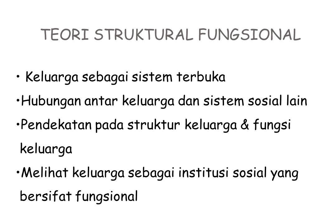 TEORI STRUKTURAL FUNGSIONAL Keluarga sebagai sistem terbuka Hubungan antar keluarga dan sistem sosial lain Pendekatan pada struktur keluarga & fungsi