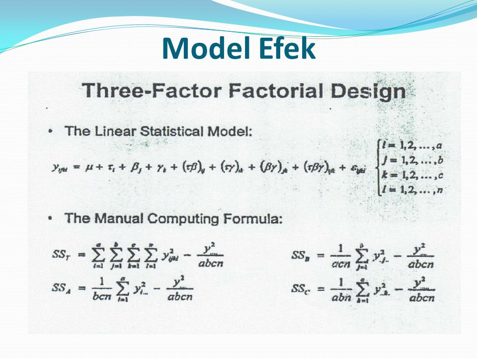 Sum Square dari interaksi faktor
