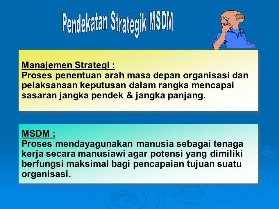Manajemen Strategi : Proses penentuan arah masa depan organisasi dan pelaksanaan keputusan dalam rangka mencapai sasaran jangka pendek & jangka panjang.