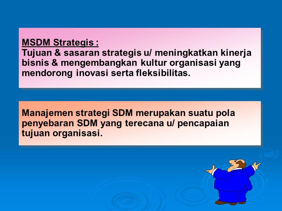 MSDM Strategis : Tujuan & sasaran strategis u/ meningkatkan kinerja bisnis & mengembangkan kultur organisasi yang mendorong inovasi serta fleksibilitas.