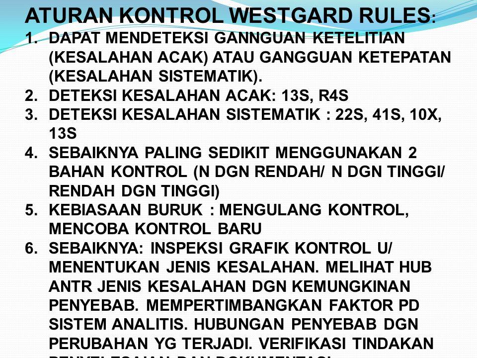 ATURAN KONTROL WESTGARD RULES : 1.DAPAT MENDETEKSI GANNGUAN KETELITIAN (KESALAHAN ACAK) ATAU GANGGUAN KETEPATAN (KESALAHAN SISTEMATIK). 2.DETEKSI KESA