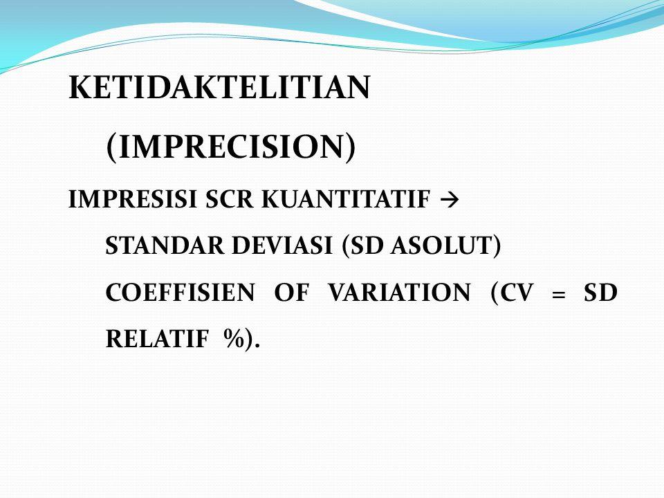 KETIDAKTELITIAN (IMPRECISION) IMPRESISI SCR KUANTITATIF  STANDAR DEVIASI (SD ASOLUT) COEFFISIEN OF VARIATION (CV = SD RELATIF %).