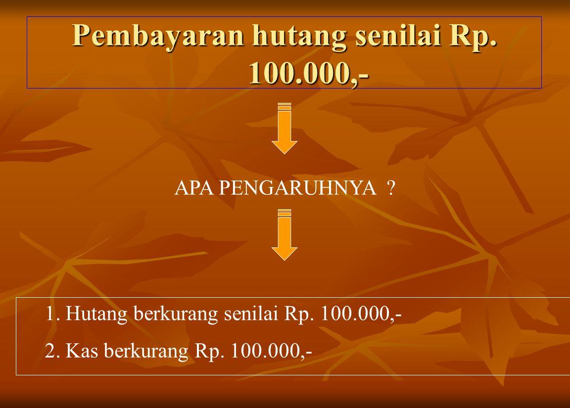 Pembayaran hutang senilai Rp. 100.000,- APA PENGARUHNYA ? 1. Hutang berkurang senilai Rp. 100.000,- 2. Kas berkurang Rp. 100.000,-