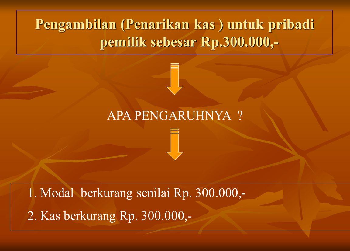 Pengambilan (Penarikan kas ) untuk pribadi pemilik sebesar Rp.300.000,- APA PENGARUHNYA ? 1. Modal berkurang senilai Rp. 300.000,- 2. Kas berkurang Rp