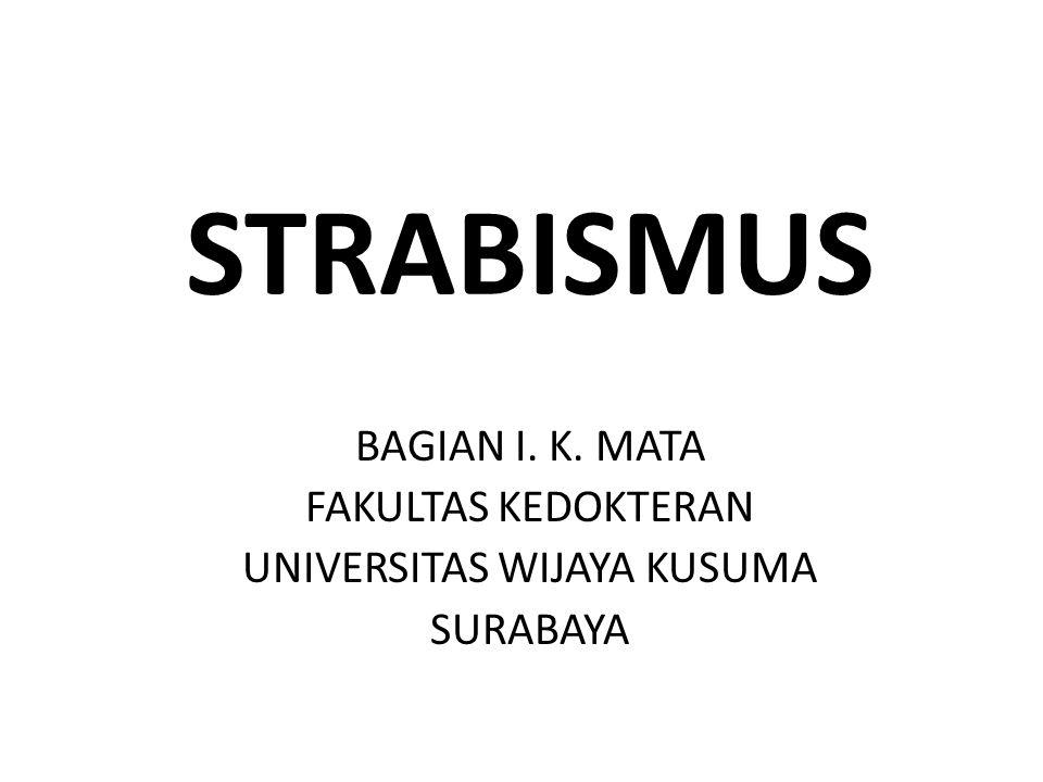 STRABISMUS BAGIAN I. K. MATA FAKULTAS KEDOKTERAN UNIVERSITAS WIJAYA KUSUMA SURABAYA