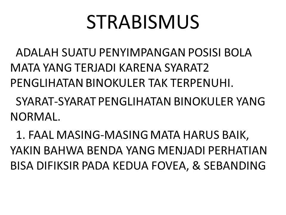 STRABISMUS ADALAH SUATU PENYIMPANGAN POSISI BOLA MATA YANG TERJADI KARENA SYARAT2 PENGLIHATAN BINOKULER TAK TERPENUHI.