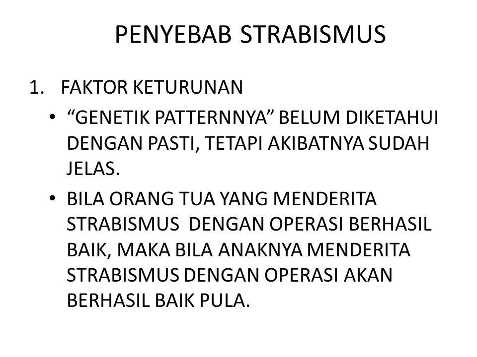 PENYEBAB STRABISMUS 1.FAKTOR KETURUNAN GENETIK PATTERNNYA BELUM DIKETAHUI DENGAN PASTI, TETAPI AKIBATNYA SUDAH JELAS.