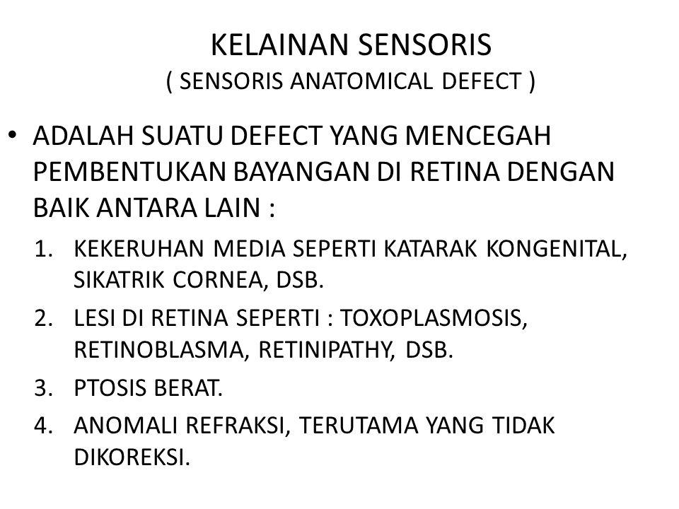 KELAINAN SENSORIS ( SENSORIS ANATOMICAL DEFECT ) ADALAH SUATU DEFECT YANG MENCEGAH PEMBENTUKAN BAYANGAN DI RETINA DENGAN BAIK ANTARA LAIN : 1.KEKERUHAN MEDIA SEPERTI KATARAK KONGENITAL, SIKATRIK CORNEA, DSB.