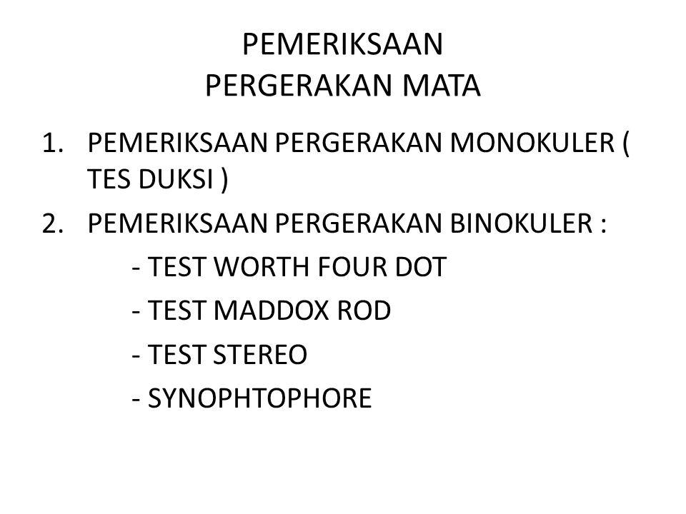 PEMERIKSAAN PERGERAKAN MATA 1.PEMERIKSAAN PERGERAKAN MONOKULER ( TES DUKSI ) 2.PEMERIKSAAN PERGERAKAN BINOKULER : - TEST WORTH FOUR DOT - TEST MADDOX ROD - TEST STEREO - SYNOPHTOPHORE