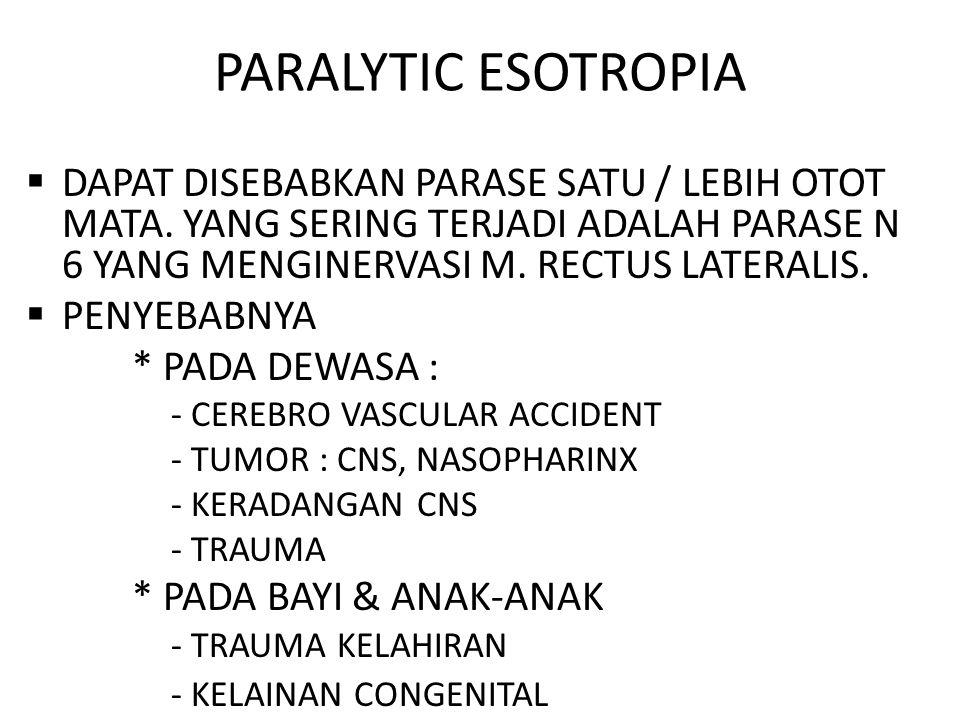 PARALYTIC ESOTROPIA  DAPAT DISEBABKAN PARASE SATU / LEBIH OTOT MATA.