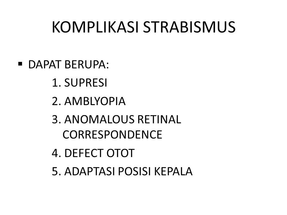 KOMPLIKASI STRABISMUS  DAPAT BERUPA: 1.SUPRESI 2.