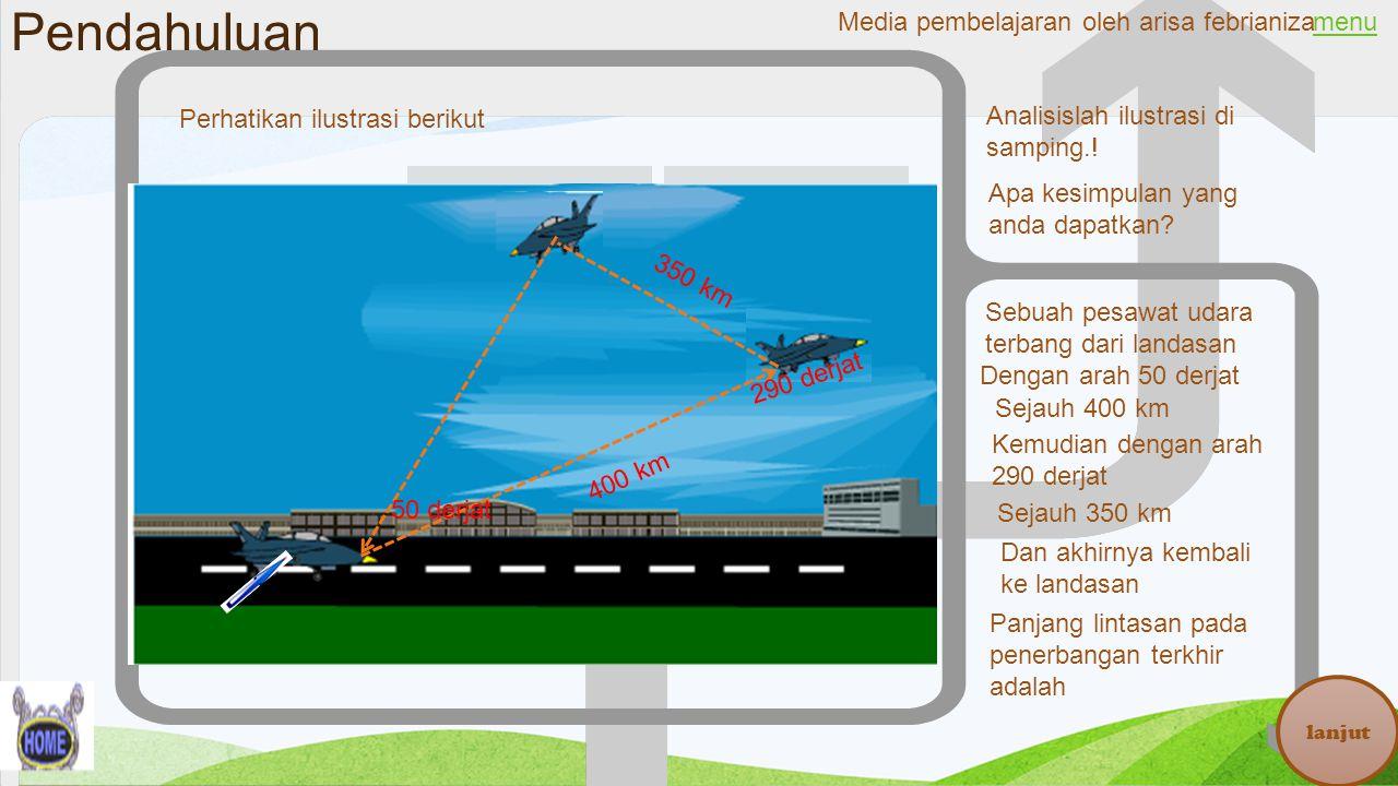 Pendahuluan menu lanjut Perhatikan ilustrasi berikut 50 derjat 290 derjat 400 km 350 km Sebuah pesawat udara terbang dari landasan Dengan arah 50 derj