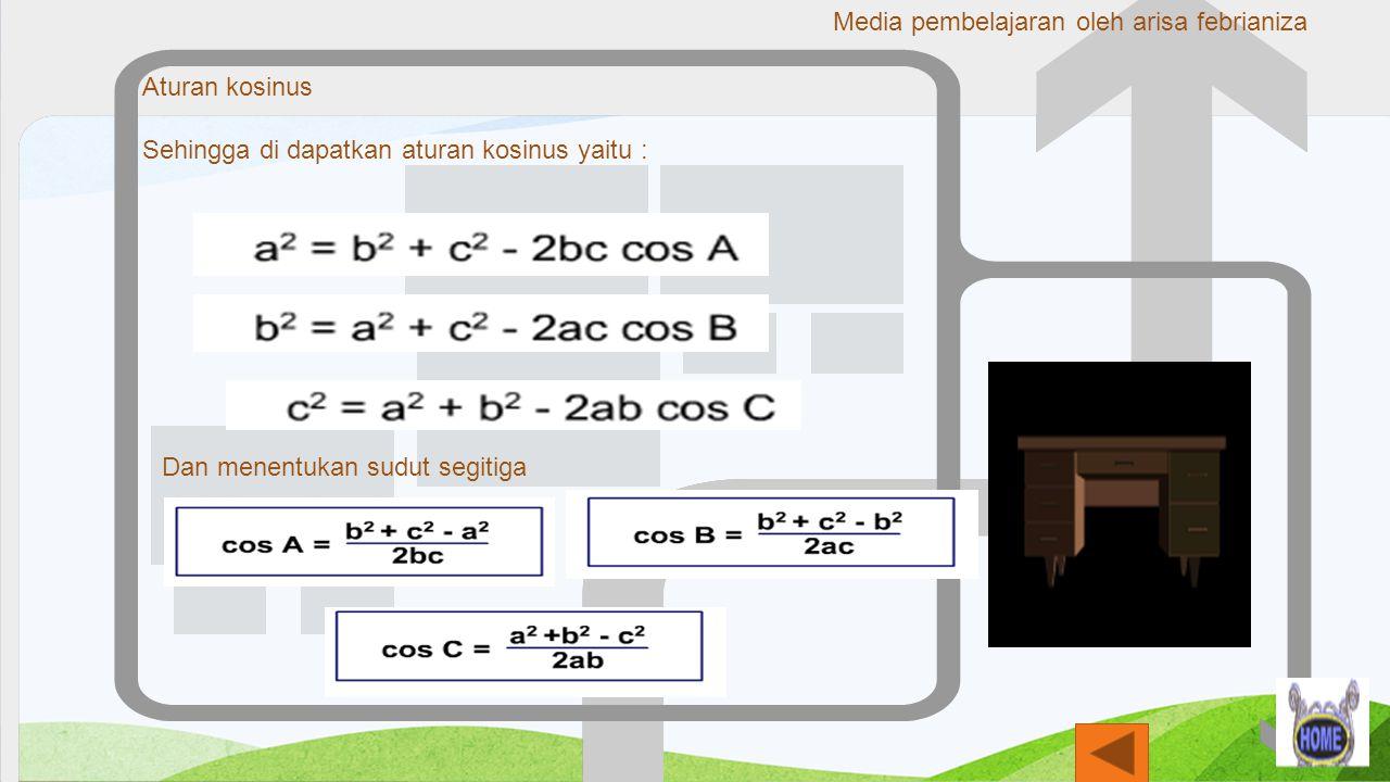 Aturan kosinus Sehingga di dapatkan aturan kosinus yaitu : Dan menentukan sudut segitiga Media pembelajaran oleh arisa febrianiza