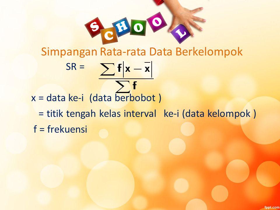 Simpangan Rata-rata Data Berkelompok SR = x = data ke-i (data berbobot ) = titik tengah kelas interval ke-i (data kelompok ) f = frekuensi