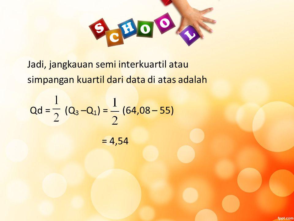 Jadi, jangkauan semi interkuartil atau simpangan kuartil dari data di atas adalah Qd = (Q 3 –Q 1 ) = (64,08 – 55) = 4,54