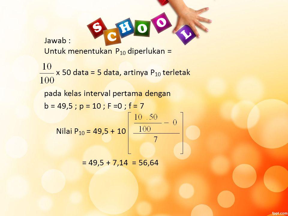 Jawab : Untuk menentukan P 10 diperlukan = x 50 data = 5 data, artinya P 10 terletak pada kelas interval pertama dengan b = 49,5 ; p = 10 ; F =0 ; f = 7 Nilai P 10 = 49,5 + 10 = 49,5 + 7,14 = 56,64
