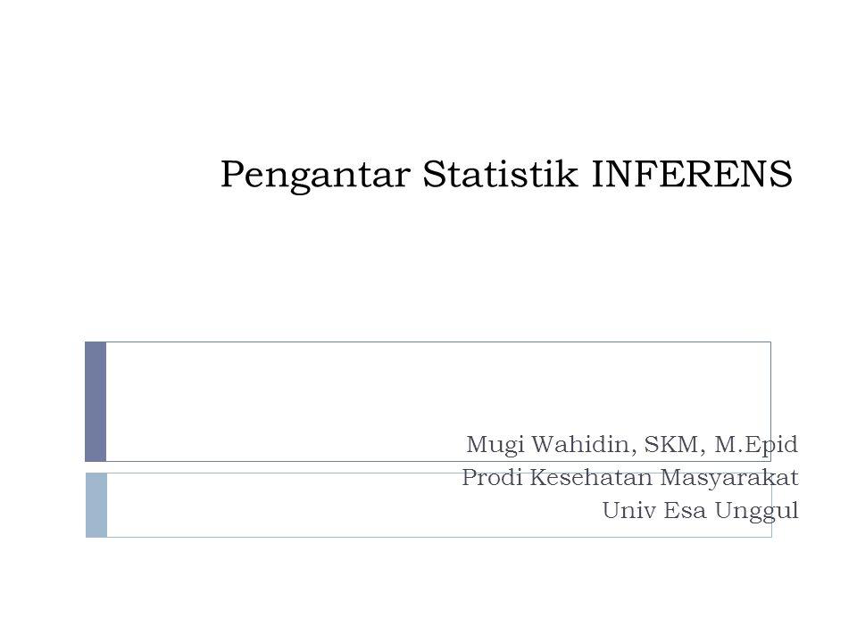 Pengantar Statistik INFERENS Mugi Wahidin, SKM, M.Epid Prodi Kesehatan Masyarakat Univ Esa Unggul