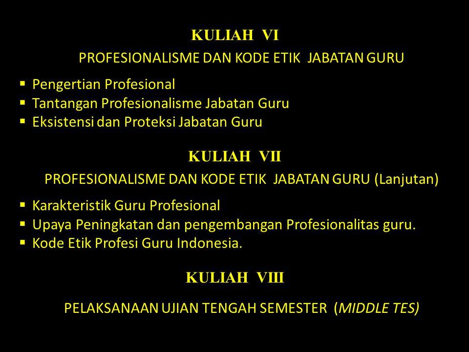 KULIAH VI PROFESIONALISME DAN KODE ETIK JABATAN GURU  Pengertian Profesional  Tantangan Profesionalisme Jabatan Guru  Eksistensi dan Proteksi Jabat