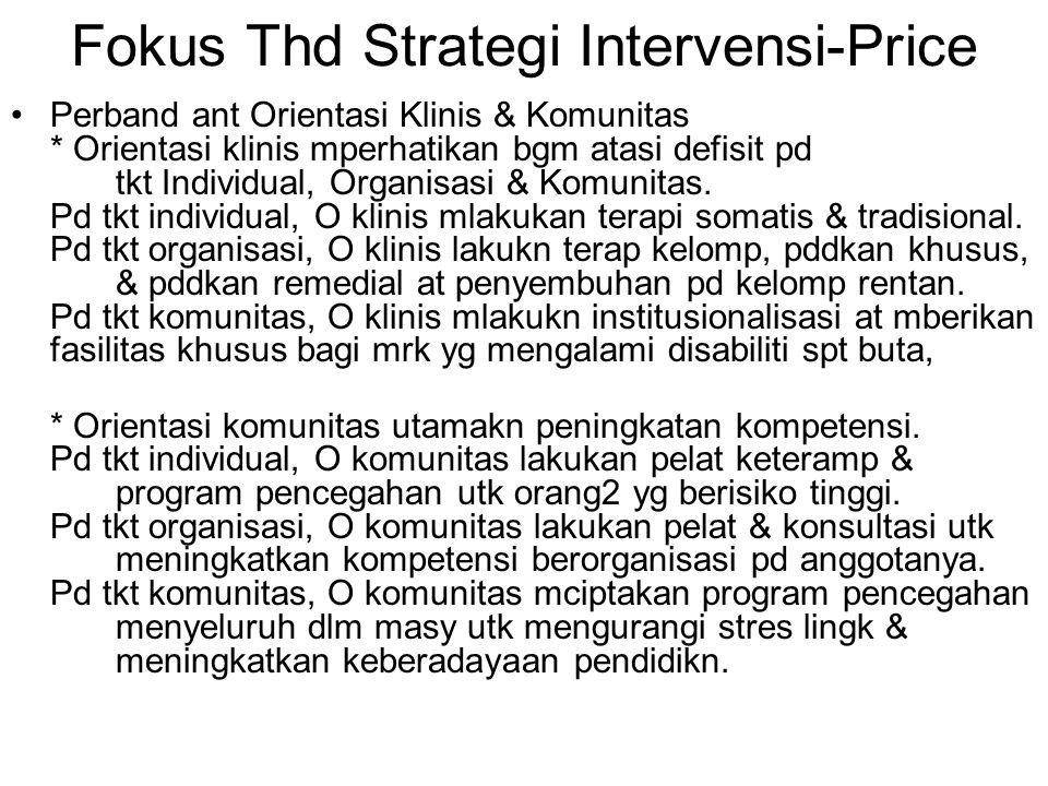 Fokus Thd Strategi Intervensi-Price Perband ant Orientasi Klinis & Komunitas * Orientasi klinis mperhatikan bgm atasi defisit pd tkt Individual, Organisasi & Komunitas.