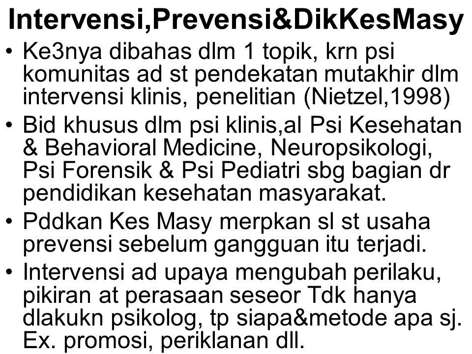 Intervensi,Prevensi&DikKesMasy Ke3nya dibahas dlm 1 topik, krn psi komunitas ad st pendekatan mutakhir dlm intervensi klinis, penelitian (Nietzel,1998