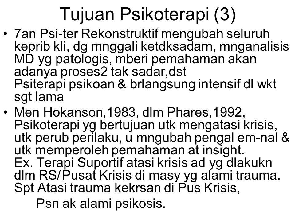 Tujuan Psikoterapi (3) 7an Psi-ter Rekonstruktif mengubah seluruh keprib kli, dg mnggali ketdksadarn, mnganalisis MD yg patologis, mberi pemahaman akan adanya proses2 tak sadar,dst Psiterapi psikoan & brlangsung intensif dl wkt sgt lama Men Hokanson,1983, dlm Phares,1992, Psikoterapi yg bertujuan utk mengatasi krisis, utk perub perilaku, u mngubah pengal em-nal & utk memperoleh pemahaman at insight.