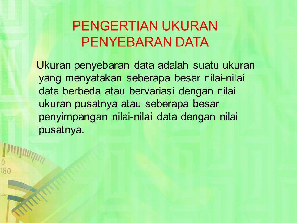 Ukuran penyebaran data adalah suatu ukuran yang menyatakan seberapa besar nilai-nilai data berbeda atau bervariasi dengan nilai ukuran pusatnya atau s
