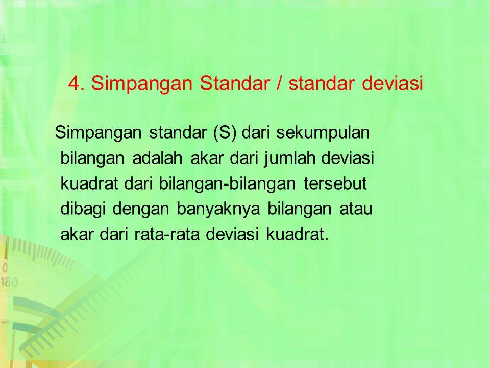 4. Simpangan Standar / standar deviasi Simpangan standar (S) dari sekumpulan bilangan adalah akar dari jumlah deviasi kuadrat dari bilangan-bilangan t