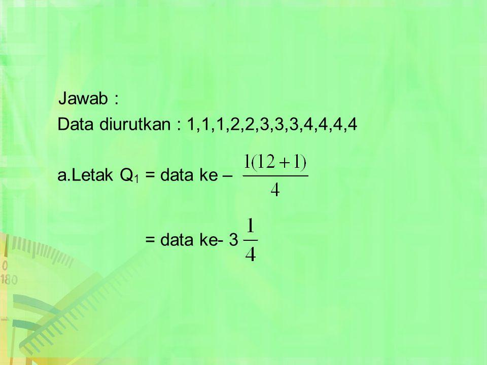 Jawab : Data diurutkan : 1,1,1,2,2,3,3,3,4,4,4,4 a.Letak Q 1 = data ke – = data ke- 3