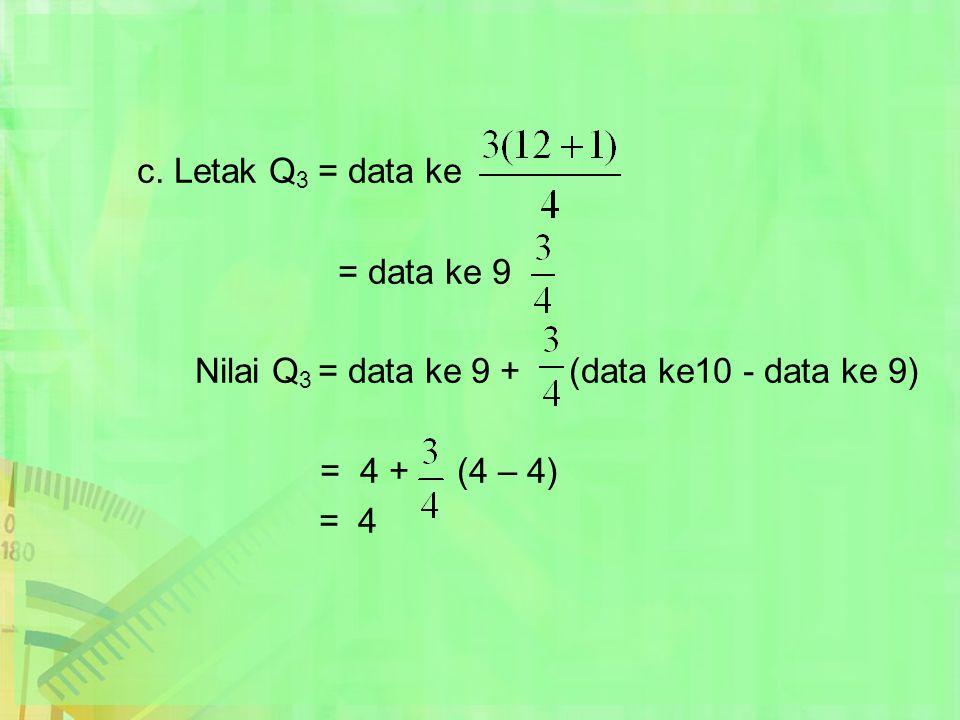 c. Letak Q 3 = data ke = data ke 9 Nilai Q 3 = data ke 9 + (data ke10 - data ke 9) = 4 + (4 – 4) = 4