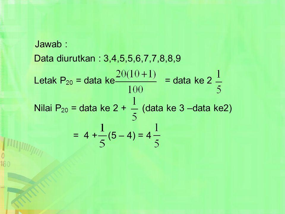 Jawab : Data diurutkan : 3,4,5,5,6,7,7,8,8,9 Letak P 20 = data ke = data ke 2 Nilai P 20 = data ke 2 + (data ke 3 –data ke2) = 4 + (5 – 4) = 4