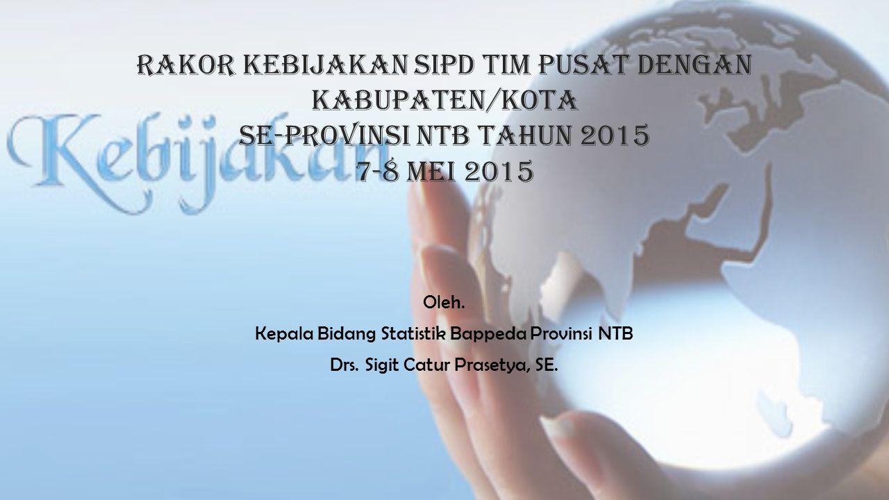 Rakor kebijakan sipd tim pusat dengan kabupaten/kota se-PROVINSI NTB TAHUN 2015 7-8 Mei 2015 Oleh. Kepala Bidang Statistik Bappeda Provinsi NTB Drs. S