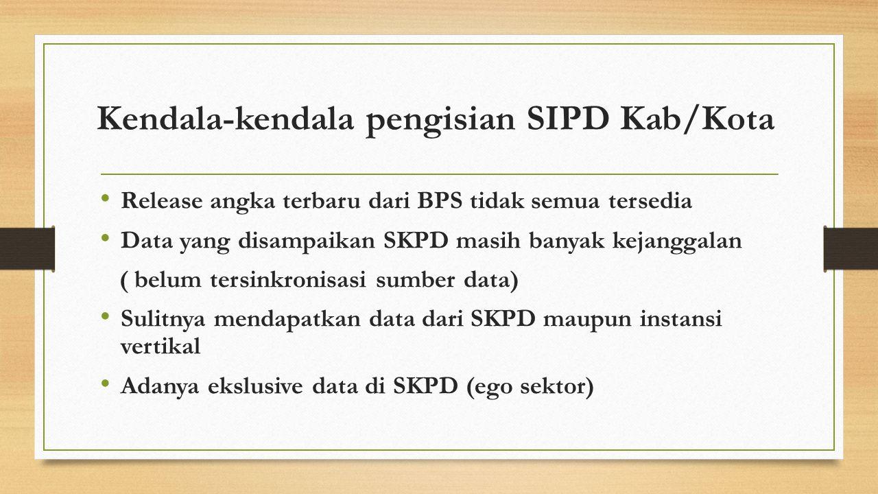 Kendala-kendala pengisian SIPD Kab/Kota Release angka terbaru dari BPS tidak semua tersedia Data yang disampaikan SKPD masih banyak kejanggalan ( belu