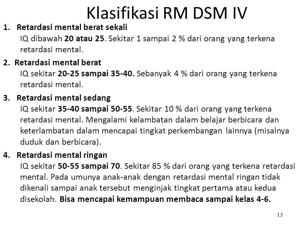 Klasifikasi RM DSM IV 1. Retardasi mental berat sekali IQ dibawah 20 atau 25. Sekitar 1 sampai 2 % dari orang yang terkena retardasi mental. 2. Retard