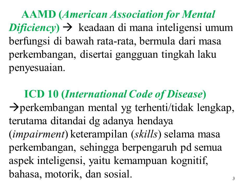 AAMD (American Association for Mental Dificiency)  keadaan di mana inteligensi umum berfungsi di bawah rata-rata, bermula dari masa perkembangan, dis