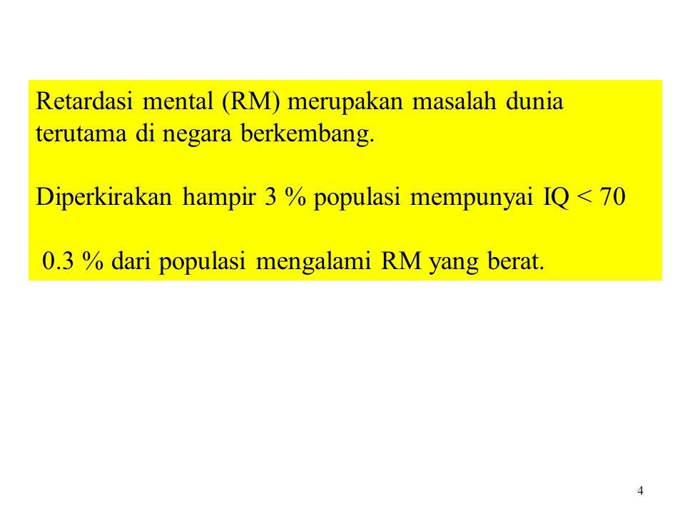 Retardasi mental (RM) merupakan masalah dunia terutama di negara berkembang. Diperkirakan hampir 3 % populasi mempunyai IQ < 70 0.3 % dari populasi me