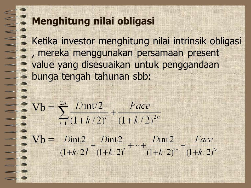 Dalam pasar modal yang efisien perubahan pada PV obligasi akan mengakibatkan perubahan secara cepat pada harga obligasi tersebut Ketika harga obligasi