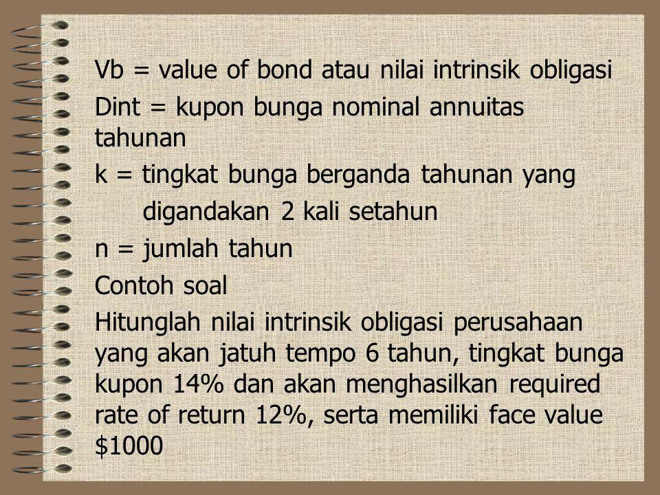 Menghitung nilai obligasi Ketika investor menghitung nilai intrinsik obligasi, mereka menggunakan persamaan present value yang disesuaikan untuk pengg