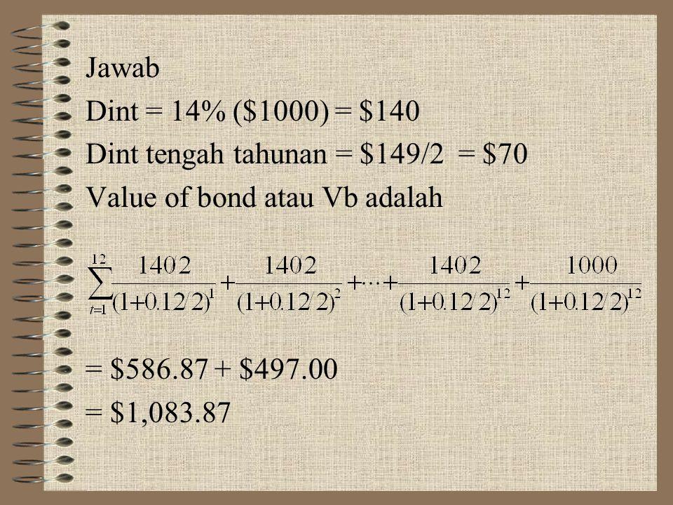 Vb = value of bond atau nilai intrinsik obligasi Dint = kupon bunga nominal annuitas tahunan k = tingkat bunga berganda tahunan yang digandakan 2 kali